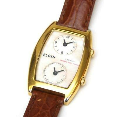 £88.30 • Buy Used Elgin Wrist Watch Quartz Women Double Face Leather Shell Gold Brown White