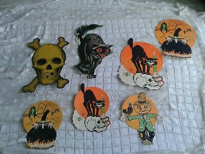 $ CDN27.50 • Buy SEVEN Vintage. ASSORTED BEISILE HALLOWEEN Retro  Cutout Die Cuts DECORATIONS