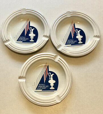 AU15 • Buy Collectable 1987 Royal Perth Yacht Club RPYC Americas Cup Metal Ashtrays X 3