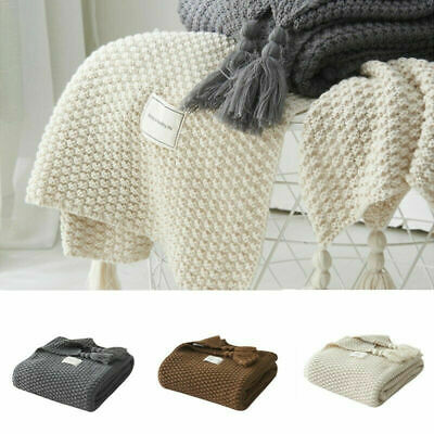 Soft Knitted-Blanket-Artificial-Cashmere Blanket Shawl Sofa Nap Throw Bedroom  • 27.99£