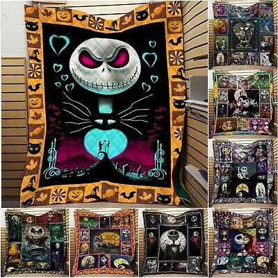 Nightmare Before Christmas Cotton Quilt Halloween Bedding Washed Blanket Throws • 16.49£