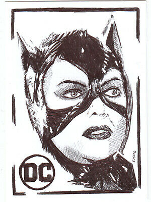 $ CDN14.03 • Buy ACEO Art Sketch Card DC Michelle Pfeiffer As Catwoman From Movie Ink Drawing B