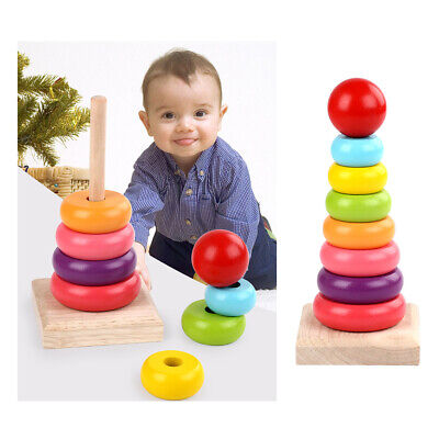 Baby Kids Ring Stacking Stack Wooden Toy Up Play Rainbow Tower Educational Toys • 5.85£