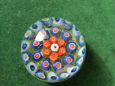 Vintage Miniature Strathearn Glass Millefiori Paperweight - Lime Green Ground • 24£