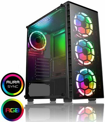 CiT Raider PC Gaming Case, ATX Mid-Tower M/ATX, Halo Dual Ring Spectrum Fans X4 • 57.95£