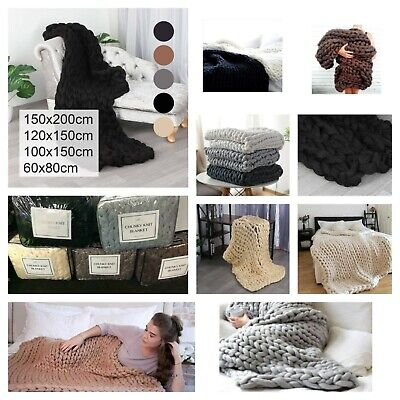 £53.97 • Buy Luxury Chunky Cable Knit Hand-woven Sofa Bed Chair Blanket Throw