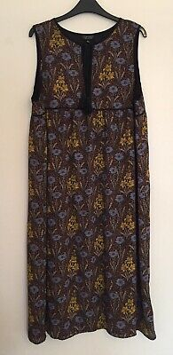 Topshop Brown Blue Floral Sleeveless Boho Folk Pinafore Midi Dress Size 16 • 12£