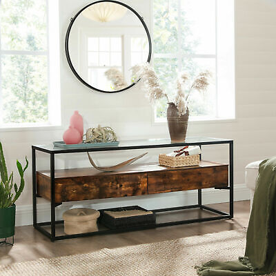 Industrial TV Stand Unit Shelf Storage Cabinet Glass Top Vintage Retro Sideboard • 149.98£