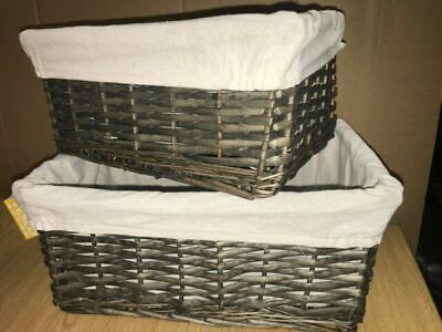 Willow Wicker Storage/Hamper Basket. 2 Set Large And Small. Washable, Stackable  • 11£