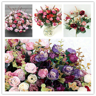 21HEADS ARTIFICIAL SILK SMALL FLOWERS ROSE BUNCH Wedding Home Outdoor Flowes Dec • 2.89£