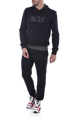 EMPORIO ARMANI Black Loungewear Lightweight 2 Piece Tracksuit Hooded Size L BNWT • 110£