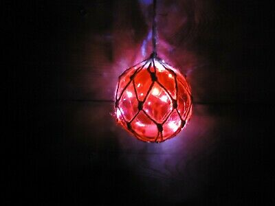 LED Lights Fishing Boat Net Float In Red Glass Buoy / Christmas Tree Garden 105 • 14.99£