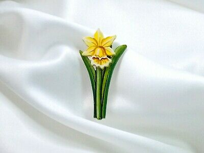 Daffodil Flower Brooch Wooden Badge Hand Painted Pin Little Flowers • 6£