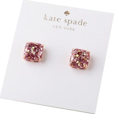 $ CDN30.61 • Buy KATE SPADE Mini Rose Gold Pink Glitter Square Stud Earrings