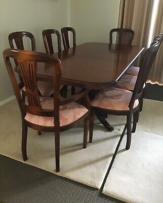 AU199 • Buy Solid Mahogany Wood Dining Table & 8 Chairs With Extension Leaf
