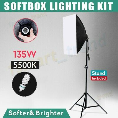 Photography Studio 135W Bulb Softbox Lighting Video Soft Box Light Stand Kit UK • 25.98£