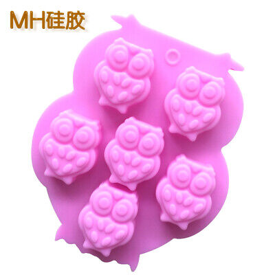 Owls Pink Silicone Mould Chocolate Fondant Jelly Ice Cube Mold • 2.96£