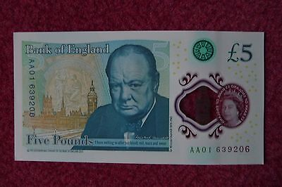 New Fiver £5 Pound Note Mint, Uncirculated Aa 01 639206 First Run Serial No • 34.85£