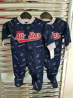 Carter's Baby Boys Pk Of 2 Cotton Footed Sleep And Play Body Suits, Age 3 Months • 7£