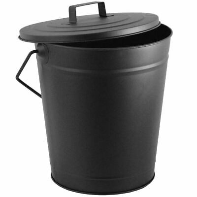 Coal Bucket Black Metal Carrier Hod With Lid And Handle Fire Tidy Kindling Large • 14.99£