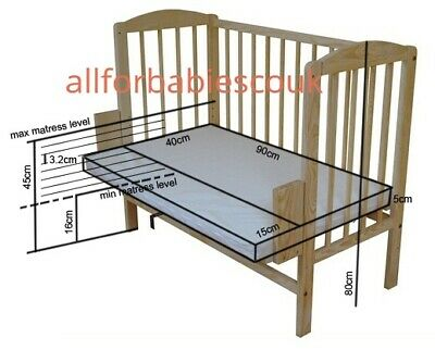 BABY Crib Bedside Cot Bed Wooden White Mattress Next To Me From Birth UK STOCK • 91£
