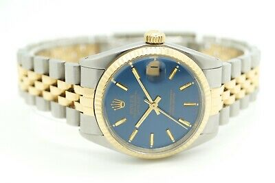$ CDN7703.43 • Buy Rolex Datejust 68273 Blue Dial Gold Steel Ladies Automatic Watch Box Papers