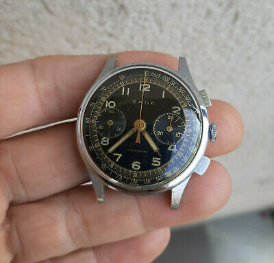 $ CDN401.72 • Buy Vintage Black Dial Military Style Sada Chronograph Watch 1940s Landeron 48