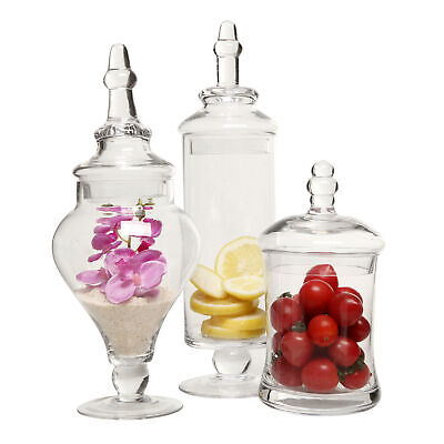 Clear Glass Apothecary Jars (3 Piece Set) Decorative Weddings Candy Buffet • 36.57£