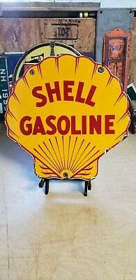 $ CDN68.17 • Buy SHELL GASOLINE Clam Porcelain Sign Gas Pump Plate Vintage Service Station