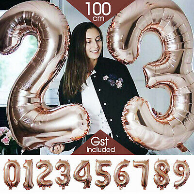 AU2.79 • Buy 100cm Rose Gold Foil Balloon Number Helium Jumbo Balloons Wedding Party Birthday