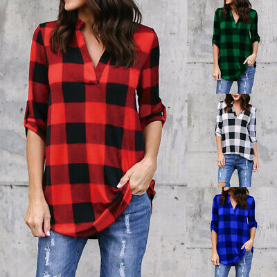Womens Long Sleeve V Neck Plaid Jumper Casual Shirt Ladies Check Size 6-20 Tops • 8.39£