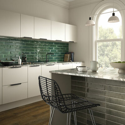 Green Petal Ceramic Gloss Wall Tiles 75x300 - FREE DELIVERY AVAILABLE • 45£