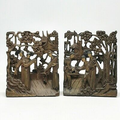 £199.99 • Buy Antique Carved Chinese Japanese Oriental Wood Bookends Book Ends