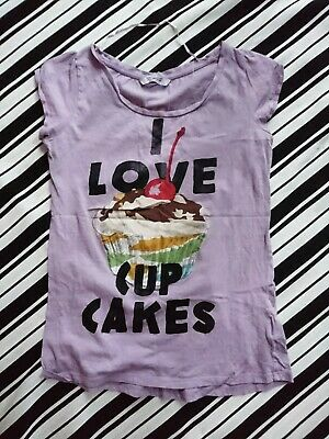 AU5 • Buy Pull And Bear Violet I Love Cupcake T-shirt Size M Cap Sleeves