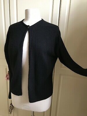 N PEAL Pure Cashmere CARDIGAN. BLACK. SIZE L. LONG SLEEVES, ROUND NECK A1 • 18£