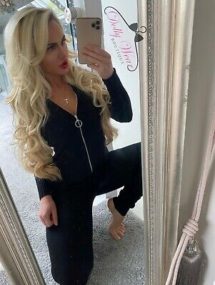 Black Ribbed Loungwear Boutique Circle Zip Set 2 Piece Ribbed Tracksuit • 24.99£