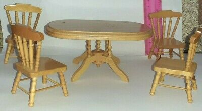 Streets Ahead Dolls House Furniture 1/12th Scale Pine Table & Chairs Spiral Beam • 2.19£
