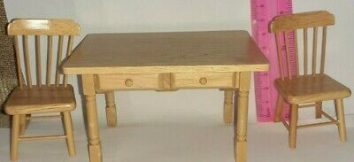 Streets Ahead Dolls House Furniture 1/12th Scale Pine Table With Draw & 2 Chairs • 1.99£