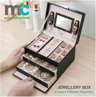 AU37.99 • Buy Jewellery Box With Mirror Girl 2 Drawer Organiser Ring Earring Storage Lock Case