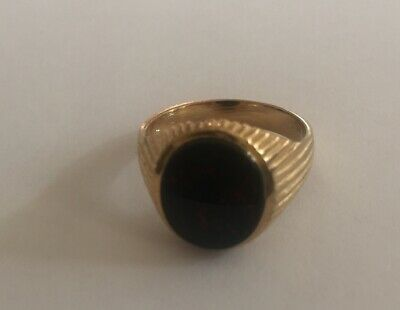 £26.50 • Buy Sterling 925 Silver Gold Plated Oval Blood Stone Set Signet Ring