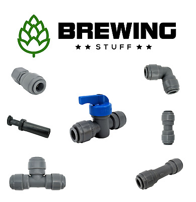 £4.20 • Buy Duotight Push Fit Beer Brewing Fittings Tee FFL Joiner Ball Check Valve 5/16 3/8