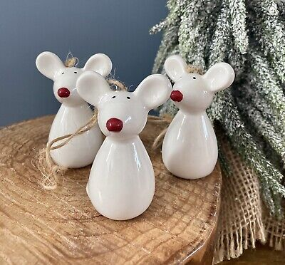 £12.95 • Buy Set Of 3 Ceramic Red Nosed Mice Christmas Tree Hanging Decorations Nordic Xmas
