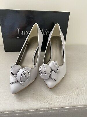 Jacques Vert Stunning  Size 5 Grey Satin Shoes New Clark's • 9.99£