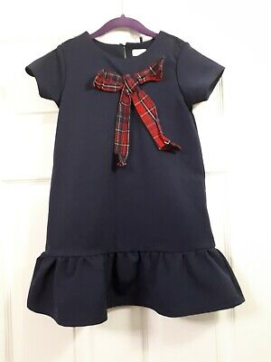 Girls Next Navy Blue With Check Bow Dress Size 4-5 Years  • 1.60£