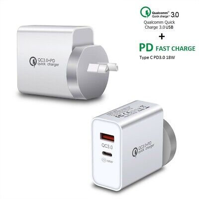 AU12.95 • Buy QC3.0 Fast Wall Plug PD 18W Type C USB Wall Charger Adapter For IPhone 12 XS 11