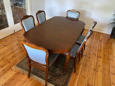 AU1990 • Buy Dining Table With 6 Leather Seat Chairs.