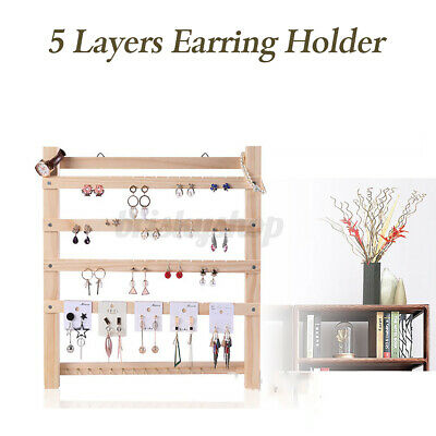 5 Layers Wooden Earring Holder Organizer Necklace Jewelry Display Stand • 17.69£