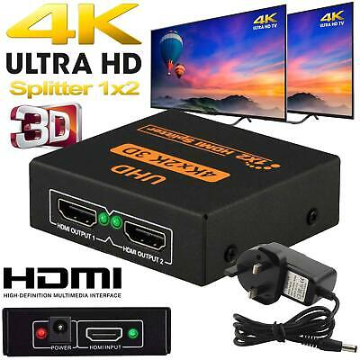 2160-p 1 In 2 Out 1 Input 2 Output Hdmi Splitter 2 Way Switch Box Hub 4k Uhd 3d • 8.99£