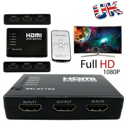5 Port HDMI Switch Splitter Hub 1080P Video Remote Control+Power Cable PS4 Xbox  • 6.99£