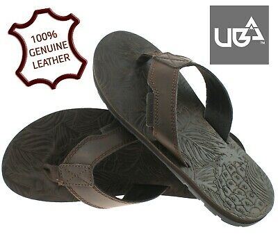 New Mens Leather Summer Beach Ladies Casual Holiday Toe Post Sandals Flip Flops • 9.95£